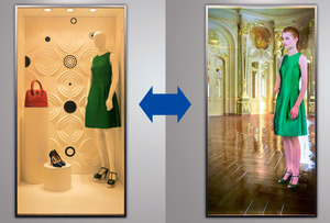 パナソニックが発売する透明スクリーン。ガラス(左)としても、映像を映すスクリーン(右)としても使える=同社提供