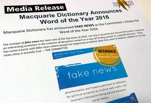 マッコーリー・ディクショナリーの2016年言葉大賞は、「フェイク(偽)ニュース」に決定した