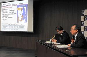 岩手、宮城両県の震災被災者の健康調査の分析結果を説明する岩手医大の坂田清美教授(右)=仙台市の東北大