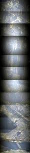 福島第一原発2号機の原子炉圧力容器底部から直下の作業用の足場までの様子。東京電力が動画から切り出した画像をつなぎ合わせて提供した(画像にあった数字を消しています)
