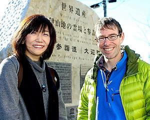 適度な規模で持続可能な観光を目指すという多田さん(左)とブラッドさん=和歌山県田辺市