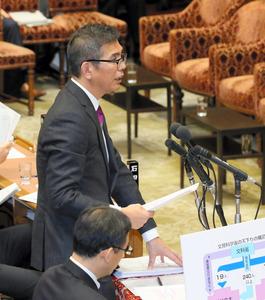 衆院予算委で質問する共産党の宮本岳志氏=7日午後3時44分、岩下毅撮影