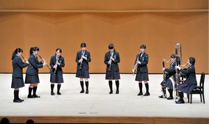 中学の部で全国出場を決めた福島県の南相馬市立原町第一クラリネット八重奏=山形県酒田市