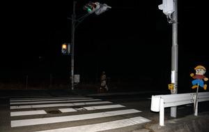 児童らがはねられた横断歩道=13日午後7時18分、大阪府能勢町下田尻、畑宗太郎撮影