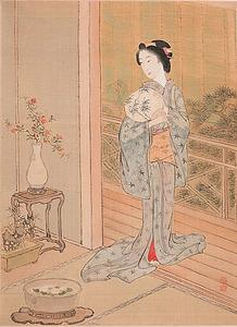 野口小蘋「団扇を持つ美人」(1887年ごろ、都鳥家蔵)