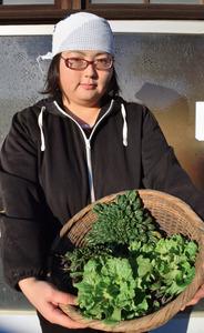 真冬でも新鮮な野菜。農園での収穫を手にする添田香菜さん=幸手市上吉羽