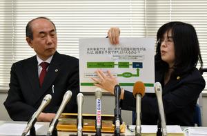 告訴内容を説明する遺族の代理人弁護士=16日午後、神戸市中央区