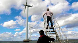 「日本と再生」の一場面。風力発電の現場を歩く河合弘之弁護士ら。自然エネルギーの実情を知るために地球を2周したという=(C)Kプロジェクト