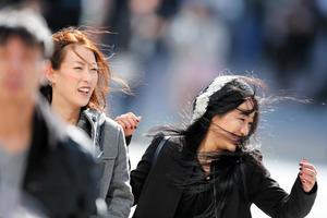 東京・渋谷のスクランブル交差点では、「春一番」の強い風が吹いた=17日午前、時津剛撮影