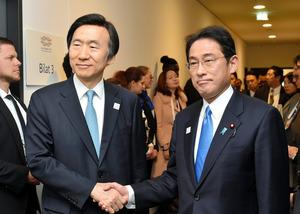 日韓外相会談を前に握手する韓国の尹炳世外相(左)と岸田文雄外相=ドイツ・ボン、代表撮影