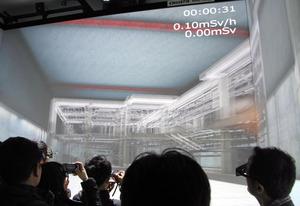 VR技術を使って福島第一原発の原子炉建屋内を立体的に映し出す=福島県楢葉町の楢葉遠隔技術開発センター