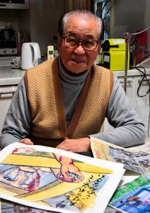 「原爆の絵」に込めた思いを語る加藤義典さん=広島市西区