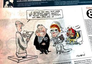 自由党とワンネーション党が「結婚」? 西オーストラリア州議会選挙で協定を結んだ両党を揶揄(やゆ)する地元紙の風刺画=2月15日付シドニー・モーニング・ヘラルド紙から
