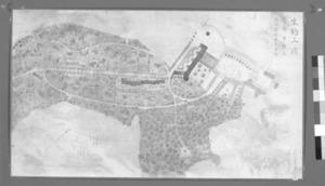 「生駒山嶺小都市計画 平面図 ブルーノ・タウト筆」。右上の黒丸が飛行塔。左の横の直線が桜並木=大和文華館提供、原本はカラー