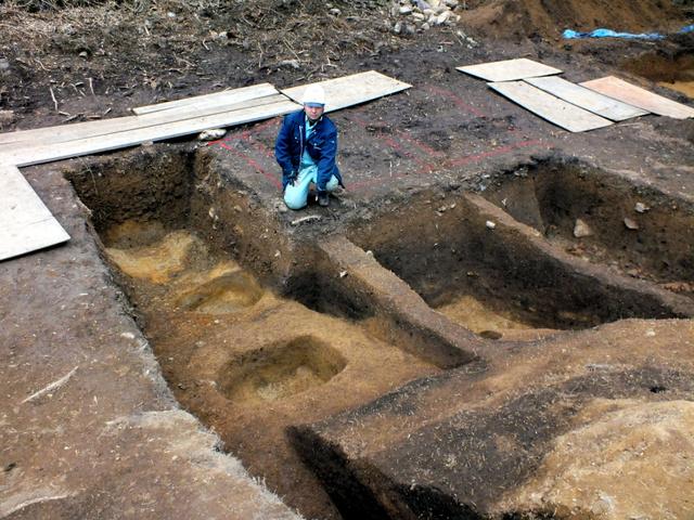 前方後円墳のくびれ部の幅などがわかった芝古墳=西京区