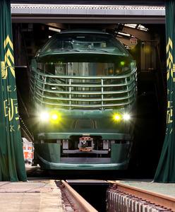 公開された豪華寝台列車「トワイライトエクスプレス瑞風」=23日午前11時15分、大阪市淀川区、内田光撮影