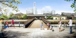 江戸町側から見た出島表門橋の完成イメージ=長崎市提供