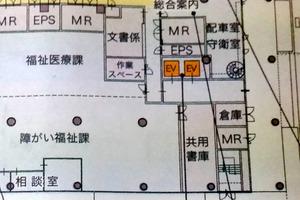 岐阜市役所新庁舎で計画されている5階までのエレベーター。廊下とエレベーターの間の扉をなくす方針が24日に決まった