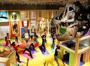 月末の金曜日に午後3時に仕事を早く終える「プレミアムフライデー」初日の24日、東京・上野の国立科学博物館では、恐竜の骨格標本などの前でのヨガレッスンがあり、仕事帰りの人などが汗を流した。「フライデー・ナイト・ミュージアム@上野」の一環=長島一浩撮影