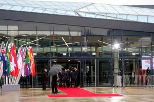 主要20カ国・地域(G20)外相会議が開かれたドイツ・ボンの国際会議センターの正面玄関=16日