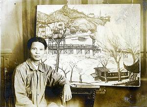 生前の陳澄波。1933年、台湾・嘉義の自宅で撮影された