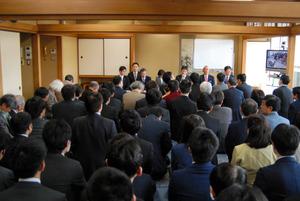 普段は対局が行われる和室で臨時総会が行われた=東京都渋谷区の将棋会館