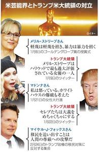 米芸能界とトランプ米大統領の対立