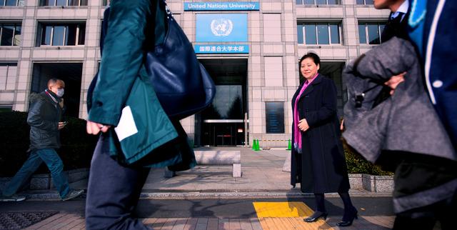 国連大学は大好きな場所。「世界中の問題をみんなで議論して解決する。国連は人類がつくった、大事な価値を持ったところ」=東京都渋谷区