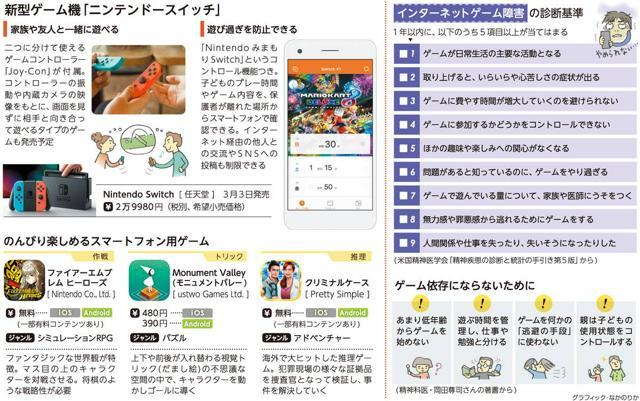 新型ゲーム機「ニンテンドースイッチ」/のんびり楽しめるスマートフォン用ゲーム/インターネットゲーム障害の診断基準<グラフィック・なかのりか>