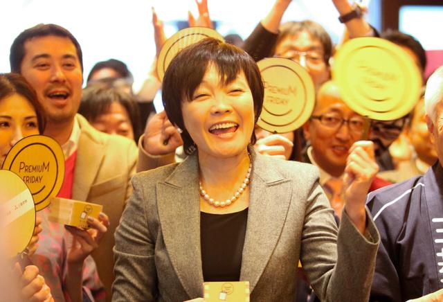 プレミアムフライデーのイベントに登場した安倍晋三首相の妻昭恵氏=2月24日、東京都中央区、坂本進撮影