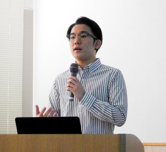 核廃絶について講演する林田光弘さん=金沢市青草町