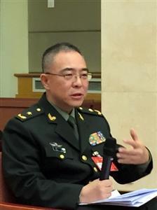 中国軍事科学院の陳舟研究員(少将)=古谷浩一撮影
