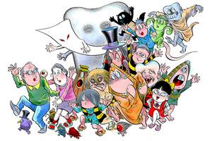 「水木しげるとその作品たち(2)」(2010年ごろ) 漫画の水木夫妻を先頭に、「ゲゲゲの鬼太郎」、「悪魔くん」、後ろに「河童の三平」のキャラクターが続く。