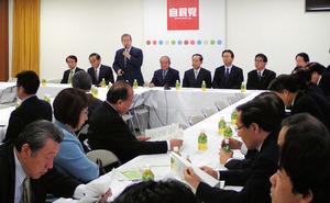 厚生労働省の受動喫煙防止強化策の対案を示した自民党たばこ議員連盟=7日、東京・永田町の自民党本部