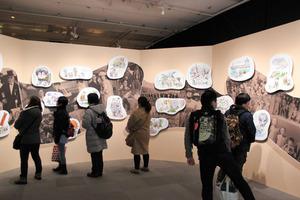 8日に開幕した「ゲゲゲの人生展」の会場=東京・松屋銀座