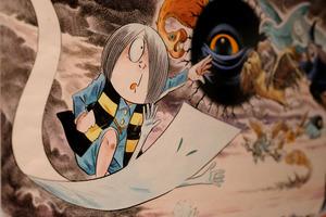 「ゲゲゲの鬼太郎」など代表作の原画が多数展示されている=8日午後8時46分、東京都中央区の松屋銀座、竹花徹朗撮影