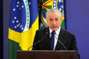 ブラジルのテメル大統領。2月8日撮影=AFP時事