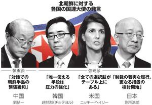 北朝鮮に対する各国の国連大使の発言