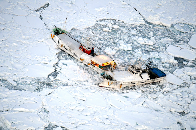 流氷に囲まれたスケトウダラ漁の漁船=11日午後5時22分、北海道羅臼町の羅臼漁港沖、朝日新聞社機から、迫和義撮影