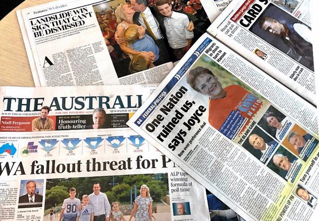 西オーストラリア州議会選での労働党の「地滑り的大勝利」を報じた3月13日付の地元各紙