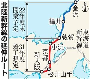 北陸新幹線の延伸ルートの地図