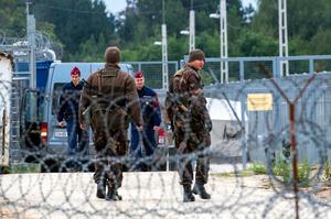2016年9月、ハンガリー南部のセルビアとの国境地帯にある「トランジット・ゾーン」でパトロールするハンガリーの軍人と警官ら=AP