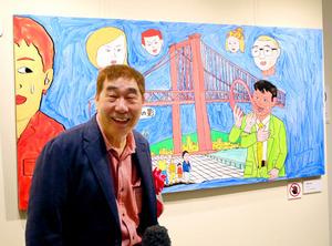 若戸大橋をモチーフに描き下ろした新作「都市の影」について話す蛭子能収さん=北九州市小倉北区の市漫画ミュージアム