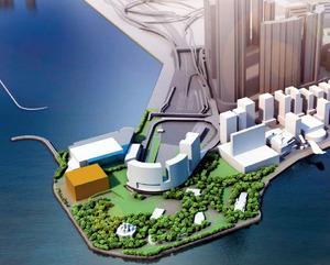 香港故宮文化博物館(左端の四角い建物)の完成イメージ図。香港政府のホームページから