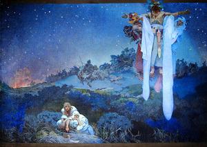 「スラヴ叙事詩『原故郷のスラヴ民族』」=プラハ市立美術館蔵
