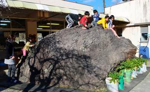 園舎の前にある大岩に登って遊ぶ園児たち=山鹿市鹿北町
