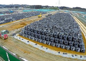 集積場には、除染事業で出た廃棄物を入れた袋が並んでいる=福島県南相馬市、福留庸友撮影