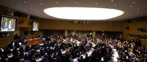 国連総会第1委員会で「核兵器禁止条約」交渉開始決議が賛成多数で採択された=米ニューヨーク国連本部、2016年10月27日、田井中雅人撮影