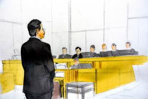 判決の言い渡しを受ける平野達彦被告=22日、神戸地裁、イラスト・岩崎絵里