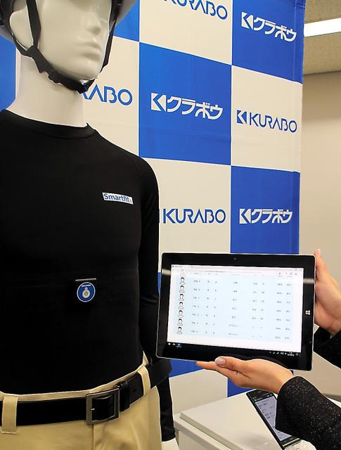 クラボウが開発した熱中症危険度を知らせる「シャツ」。心拍数などを測ってタブレットなどに情報を送信するウェアラブル端末になっている=大阪市中央区